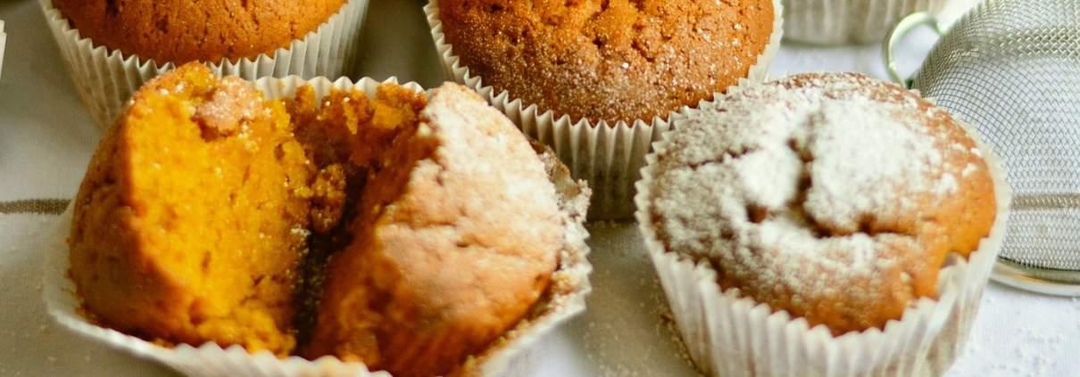 Muffin di zucca al tè verde